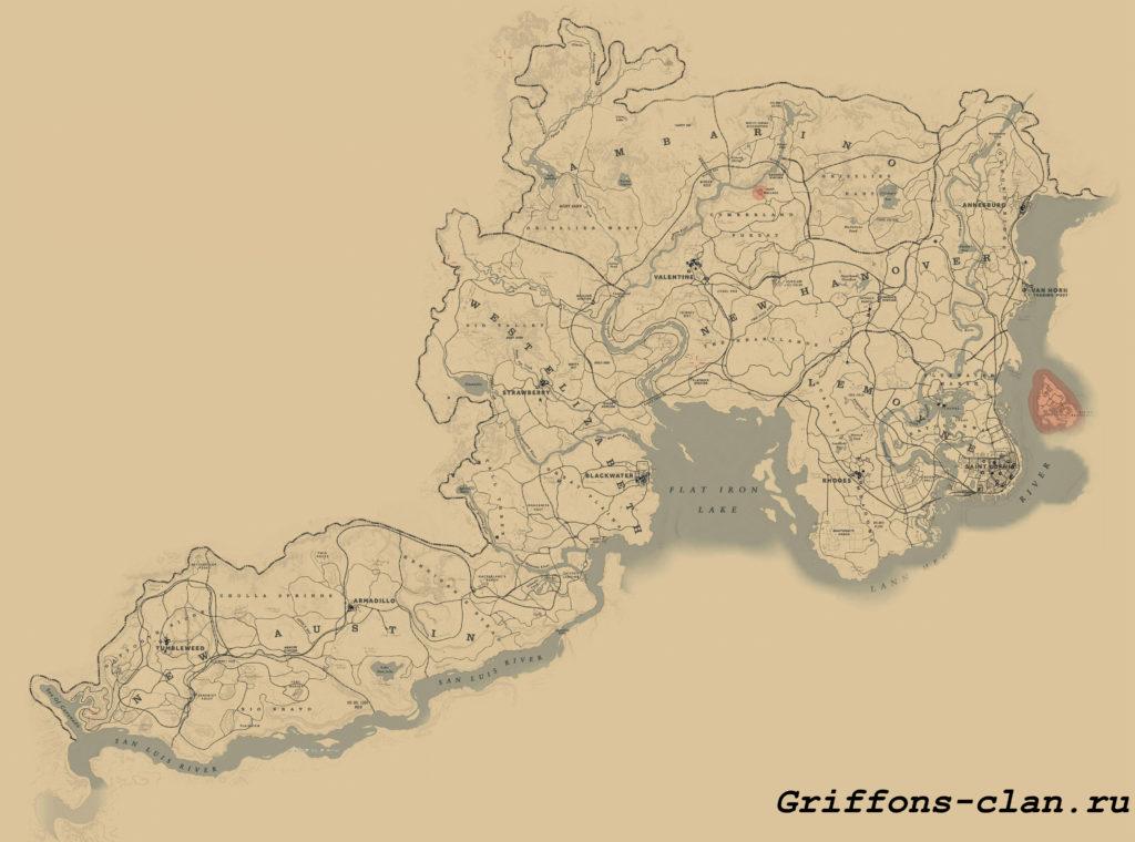 Red Dead Redemption 2: Полная карта мира